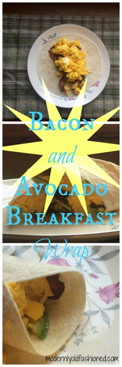 bacon and avocado breakfast wrap collage